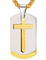cheap -Men's Cross Shape Classic Casual Pendant Necklace , Stainless Steel Pendant Necklace Gift Daily