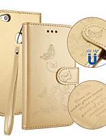 Недорогие -Кейс для Назначение Huawei P8 Lite (2017) P10 Lite Бумажник для карт Кошелек со стендом Флип Рельефный Чехол Бабочка Твердый