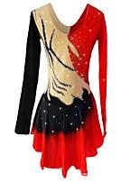 cheap -Figure Skating Dress Women's Girls' Ice Skating Dress Red Spandex Stretchy Skating Wear Sequin Long Sleeves Figure Skating