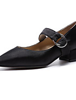 cheap -Women's Shoes Leather Spring Fall Comfort Heels Chunky Heel for Casual Black Almond