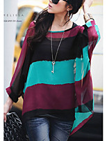 cheap -Women's Daily Casual Blouse,Color Block Round Neck Long Sleeve Cotton Acrylic