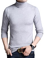 cheap -Men's Daily Work Casual Regular Pullover,Solid Color Turtleneck Long Sleeve Cotton Acrylic Polyester Winter Spring Opaque Micro-elastic