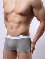 abordables -Hombre Rígido Sólido Medio Boxer,Algodón 1pc Blanco Negro Naranja Rosa Gris