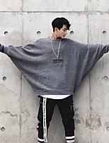 preiswerte -Herrn Solide Alltag Pullover Langarm Rundhalsausschnitt Winter Polyester