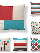 cheap -6 pcs Textile Cotton/Linen Pillow Cover, Polka Dot Striped Geometric