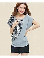 preiswerte -Damen Einfarbig Freizeit Alltag T-shirt,Rundhalsausschnitt Sommer Kurze Ärmel Baumwolle
