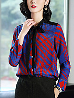 preiswerte -Damen Druck Anspruchsvoll Ausgehen Hemd,Ständer Frühling Langärmelige Polyester Dünn