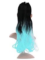Недорогие -20 дюйм Синий Кулиска Кудрявый Завязки Синтетический Волосы Наращивание волос