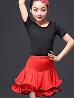 cheap -Latin Dance Outfits Children's Performance Nylon Ruching Short Sleeve High Skirts Tops by Shall We®