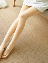 abordables -Mujer Estilo moderno Medio Sólido Nailon Con Forro Legging,Beige