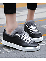 cheap -Women's Shoes Cowhide Spring Fall Fluff Lining Comfort Sneakers Flat for Casual Black White
