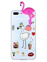 cheap -Case For Apple iPhone 7 iPhone 6 Pattern DIY Back Cover Flamingo Animal 3D Cartoon Soft TPU for iPhone X iPhone 8 Plus iPhone 8 iPhone 7