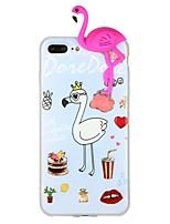 baratos -Capinha Para Apple iPhone 7 iPhone 6 Estampada Faça Você Mesmo Capa Traseira Flamingo Animal Desenhos 3D Macia TPU para iPhone X iPhone 8