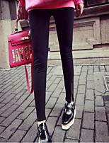 preiswerte -Damen Klassisch Mittel Polyester Solide Einfarbig Legging,Schwarz Grau