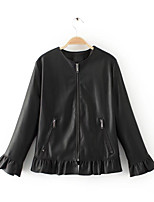 cheap -Women's Daily Casual Winter Leather Jacket,Solid Round Neck Short Sleeve Regular Cotton Acrylic Pleated
