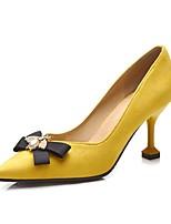 preiswerte -Damen Schuhe Beflockung Frühling Herbst Pumps High Heels Stöckelschuh Spitze Zehe Schleife für Kleid Schwarz Gelb