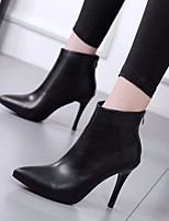 cheap -Women's Shoes PU Spring Fall Comfort Bootie Boots Stiletto Heel for Casual Black