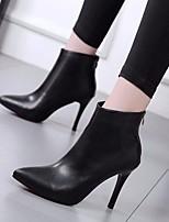 Недорогие -Жен. Обувь Полиуретан Весна Осень Ботильоны Удобная обувь Ботинки На шпильке для Повседневные Черный