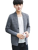 cheap -Men's Daily Wear Short Cardigan,Solid V Neck Long Sleeves Polyester Winter Fall Opaque Micro-elastic
