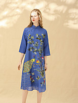 cheap -8CFAMILY Women's Party Holiday Vintage Chinoiserie Loose Dress,Floral Stand Midi Half Sleeve Cotton Spring Summer Mid Rise Inelastic Thin