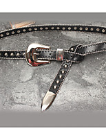 cheap -Women's Leather Waist Belt,Black Vintage Casual