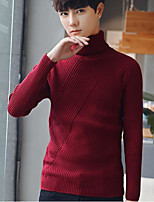 cheap -Men's Daily Casual Short Pullover,Solid Turtleneck Long Sleeves Polyester Winter Fall Thick Micro-elastic