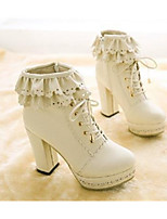 cheap -Women's Shoes PU Spring Fall Comfort Boots Chunky Heel Round Toe Booties/Ankle Boots for Casual Almond Pink White