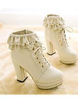 baratos -Feminino Sapatos Couro Ecológico Primavera Outono Conforto Botas Salto Robusto Ponta Redonda Botas Curtas / Ankle para Casual Branco Rosa