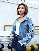 cheap -Women's Daily Casual Fall Denim Jacket,Print Square Neck Long Sleeve Short Cotton