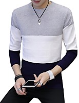 cheap -Men's Daily Casual Regular Pullover,Solid Round Neck Long Sleeves Polyester Japanese Cotton Winter Fall Thick Micro-elastic