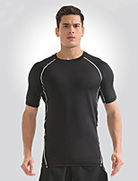 cheap -Men's Running T-Shirt with Shorts Short Sleeves Fast Dry Breathability T-shirt for Yoga Outdoor Exercise Running Nylon White Yellow S M L