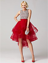 economico -Da ballo Con decorazione gioiello Asimmetrico Tulle Cocktail Graduazione Vestito con Perline Con strass di TS Couture®