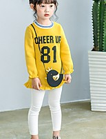 cheap -Girl's Daily Solid Letter Dress,Cotton Spring Fall Long Sleeves Casual Yellow