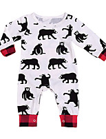 cheap -Baby Kid's Casual/Daily Print Animal Print One-Pieces,Cotton Spring Simple Long Sleeve White