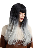 cheap -Synthetic Hair Wigs Straight Ombre Hair With Bangs Natural Wigs Black/Grey