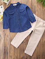 preiswerte -Jungen Kleidungs Set Alltag Ausgehen Solide Baumwolle Polyester Frühling Herbst Langärmelige Freizeit Punk & Gothic Chinoiserie Blau
