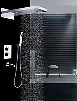 cheap -Contemporary Wall Mounted Rain Shower Waterfall Handshower Included Thermostatic Ceramic Valve Two Handles Four Holes Chrome, Shower