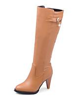 Недорогие -Для женщин Обувь Полиуретан Зима Осень Удобная обувь Модная обувь Ботинки Высокий каблук Сапоги до колена для Повседневные Черный