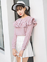 cheap -Women's Casual/Daily Cute Active Spring/Fall Summer Shirt,Striped Round Neck Long Sleeve Polyester Medium