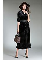 economico -Fodero Vestito Da donna-Per uscire Vintage Tinta unita A V Medio Maniche lunghe Velluto Autunno Vita alta Anelastico Opaco