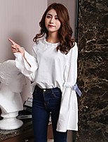 cheap -Women's Casual/Daily Street chic Shirt,Solid Stand Long Sleeves Cotton