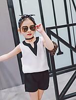 Недорогие -Девочки Набор одежды Повседневные Хлопок Бамбуковая ткань Спандекс Однотонный Весна Длинные рукава На каждый день Белый