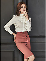 cheap -Women's Daily Casual Fall Set Skirt Suits,Color Block Round Neck Long Sleeve Polyester