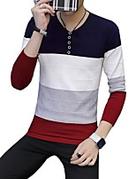 cheap -Men's Daily Casual Regular Pullover,Color Block V Neck Long Sleeves Polyester Japanese Cotton Winter Fall Thick Micro-elastic