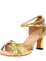 cheap -Latin Paillette Leatherette Sandal Chunky Heel Gold Silver Customizable