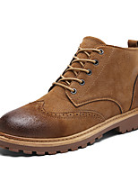 cheap -Men's Shoes Leatherette Winter Fall Comfort Combat Boots Boots Booties/Ankle Boots for Casual Outdoor Gray Brown Green
