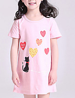Недорогие -Девичий Платье Хлопок Однотонный Лето С короткими рукавами Очаровательный Розовый Серый Лиловый Желтый Пурпурный
