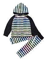 Недорогие -Универсальные Набор одежды Повседневные Спорт Модал Полоски Радужный Весна Все сезоны Длинный рукав На каждый день Активный Цвет радуги