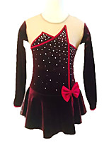 cheap -Figure Skating Dress Women's Girls' Ice Skating Dress Burgundy Spandex Stretchy Skating Wear Sequin Long Sleeves Ice Skating