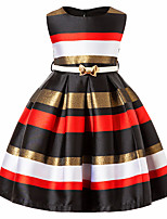 cheap -Girl's Daily Striped Color Block Dress,Cotton Rayon Spring Summer Sleeveless Vintage Cute Casual Beige Black